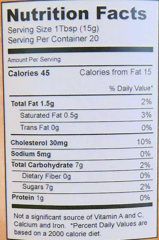 Lemon Curd Nutrition Info