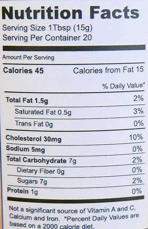 Orange Curd Nutrition Info